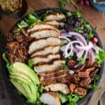 Grilled Chicken Salad with Candied Pecans and Balsamic Dressing