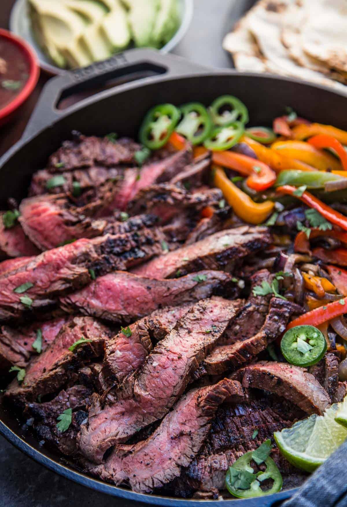 Beef Fajitas in a cast iron pan
