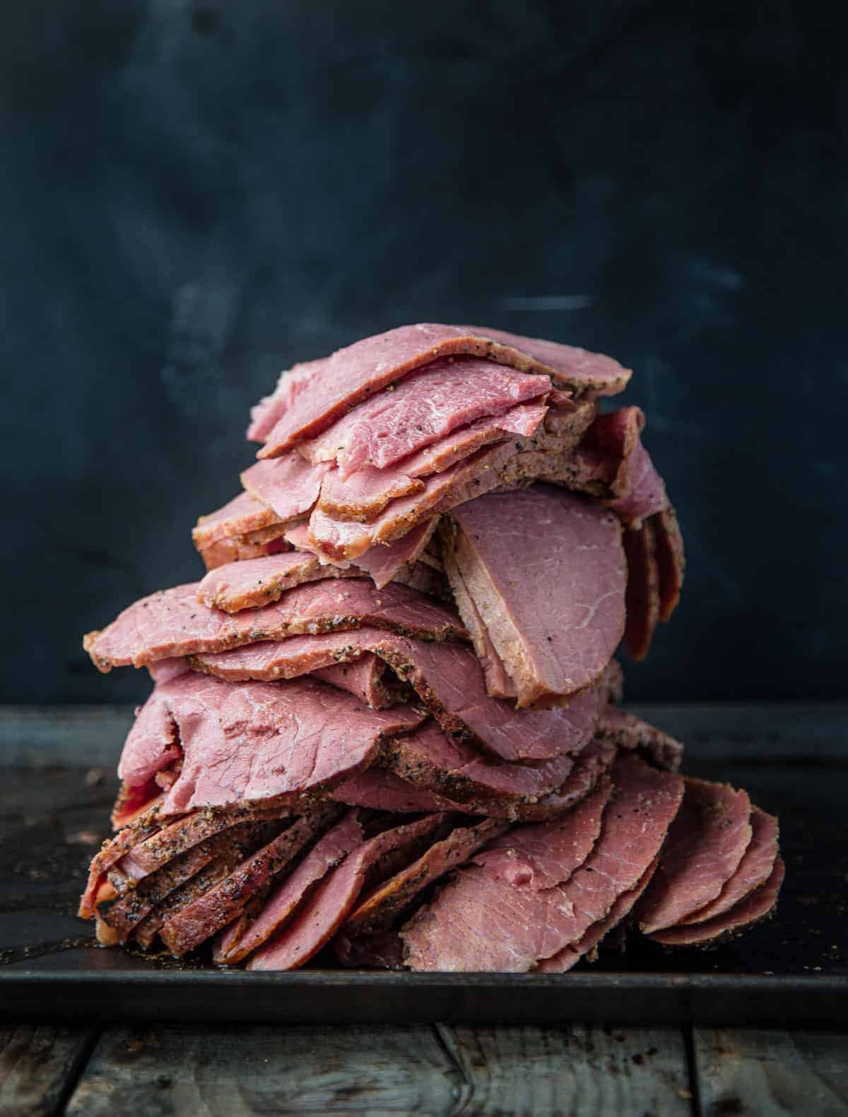 A stack of Homemade Smoked Pastrami Slices