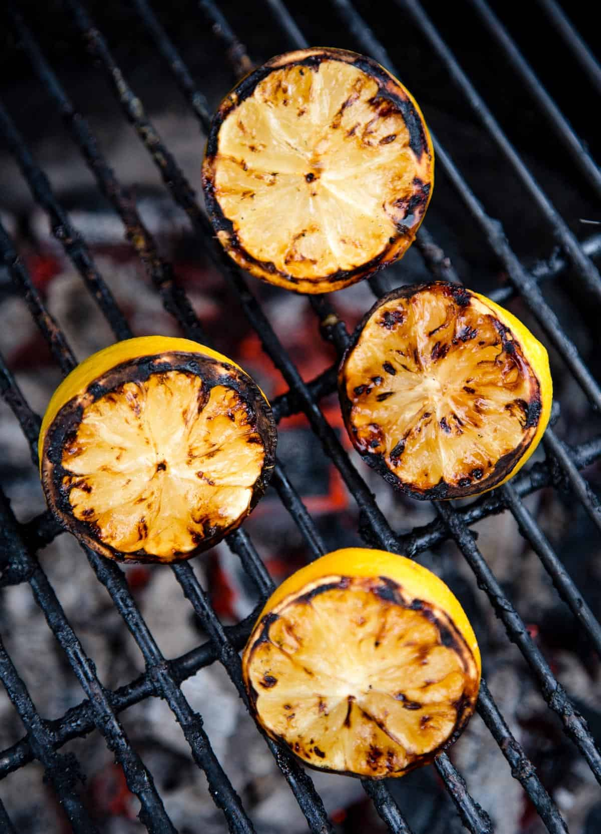 Grilled Lemons on grill grates