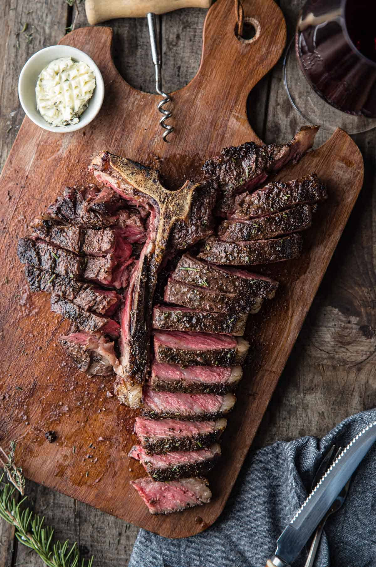 A sliced T Bone Steak