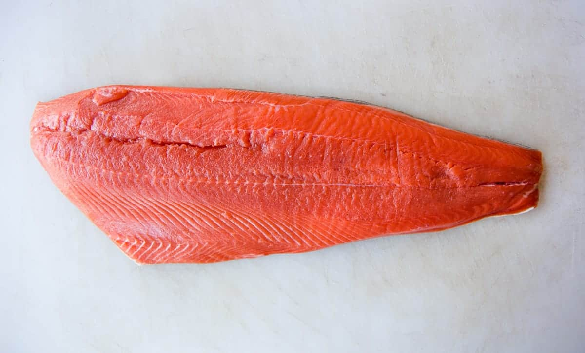 Fresh raw salmon filet