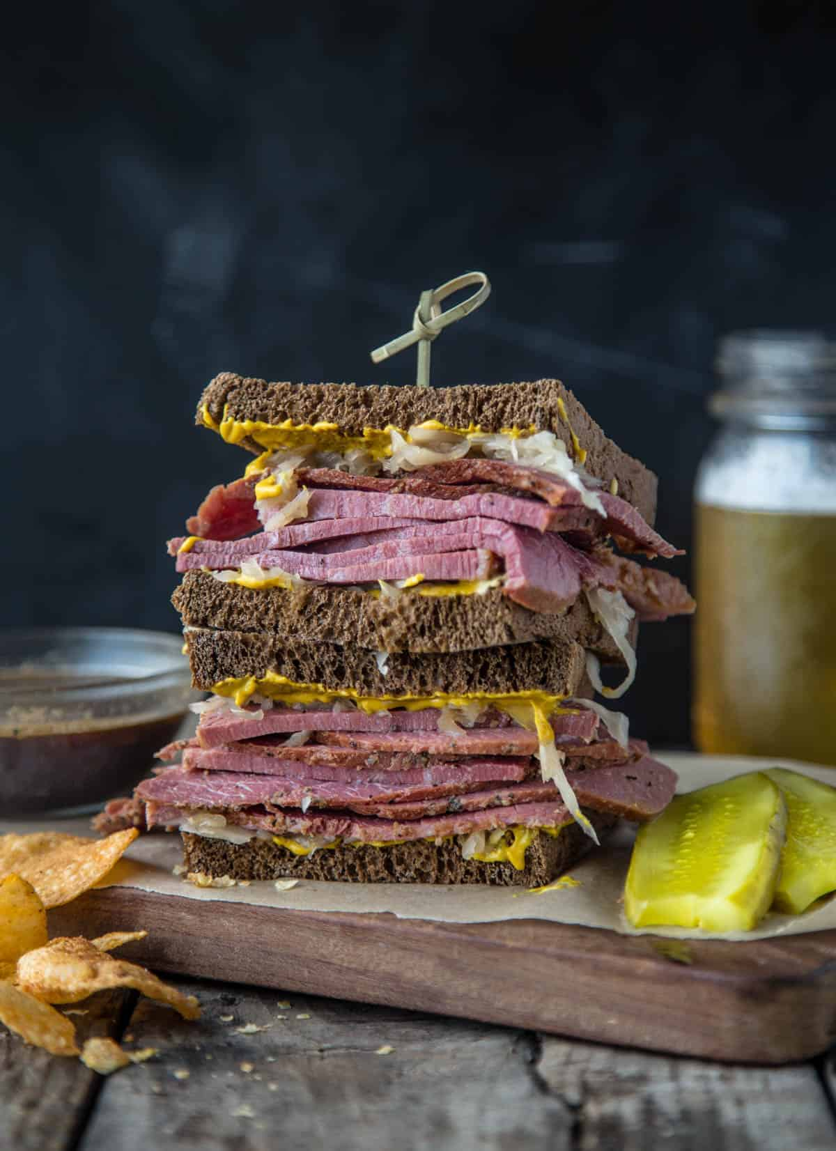 Corned Beef Sandwich with Guinness Au Jus dipping sauce