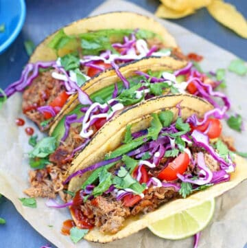 pulled pork tacos made with smoked pulled pork