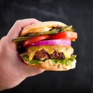 Mexican Burger and Bun in Hand