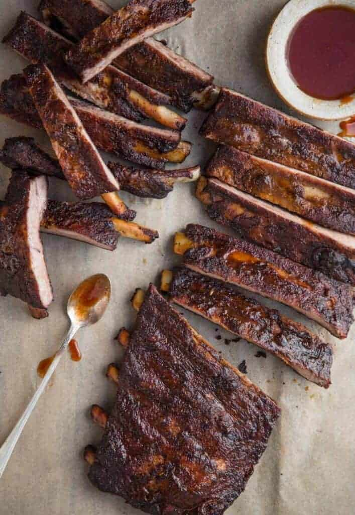 Smoked Spare Ribs with sauce cut into individual ribs