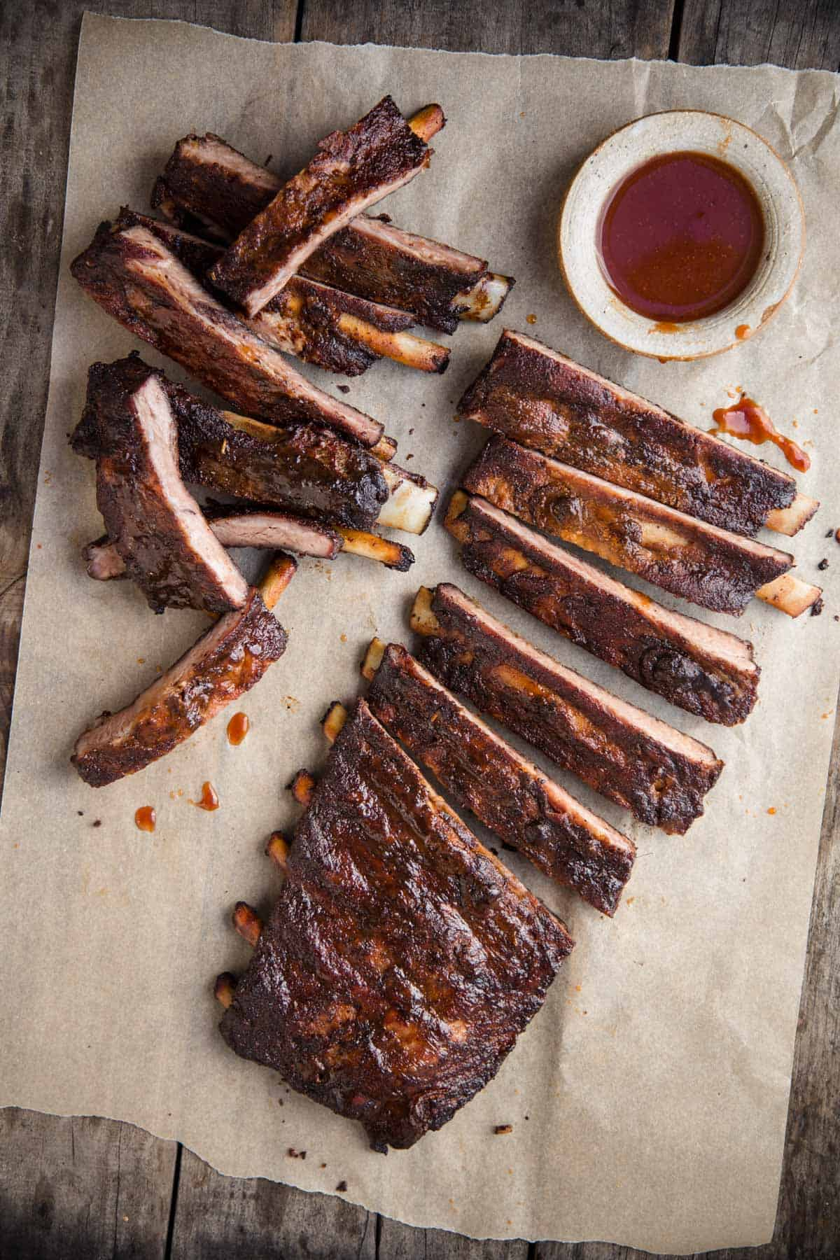 Smoked Spare Ribs cooked Memphis style and served with a side of sauce