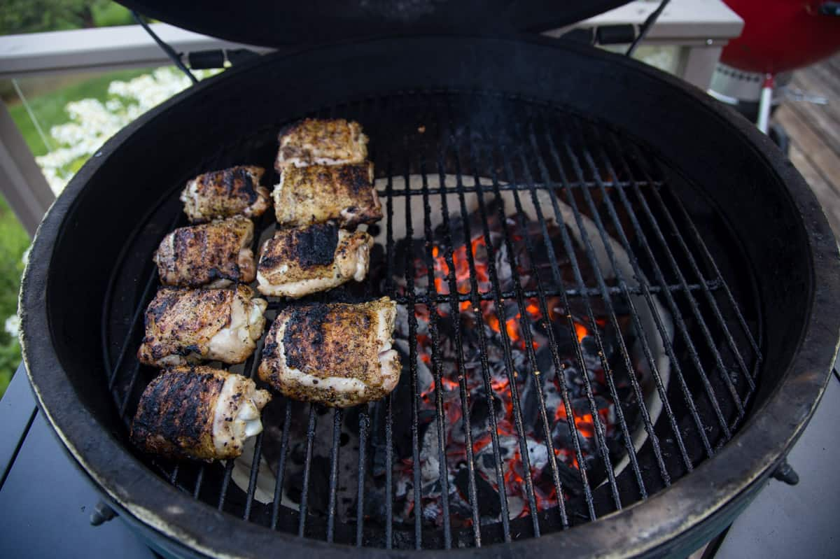 Grilled Chicken Thighs being cooked over indirect heat