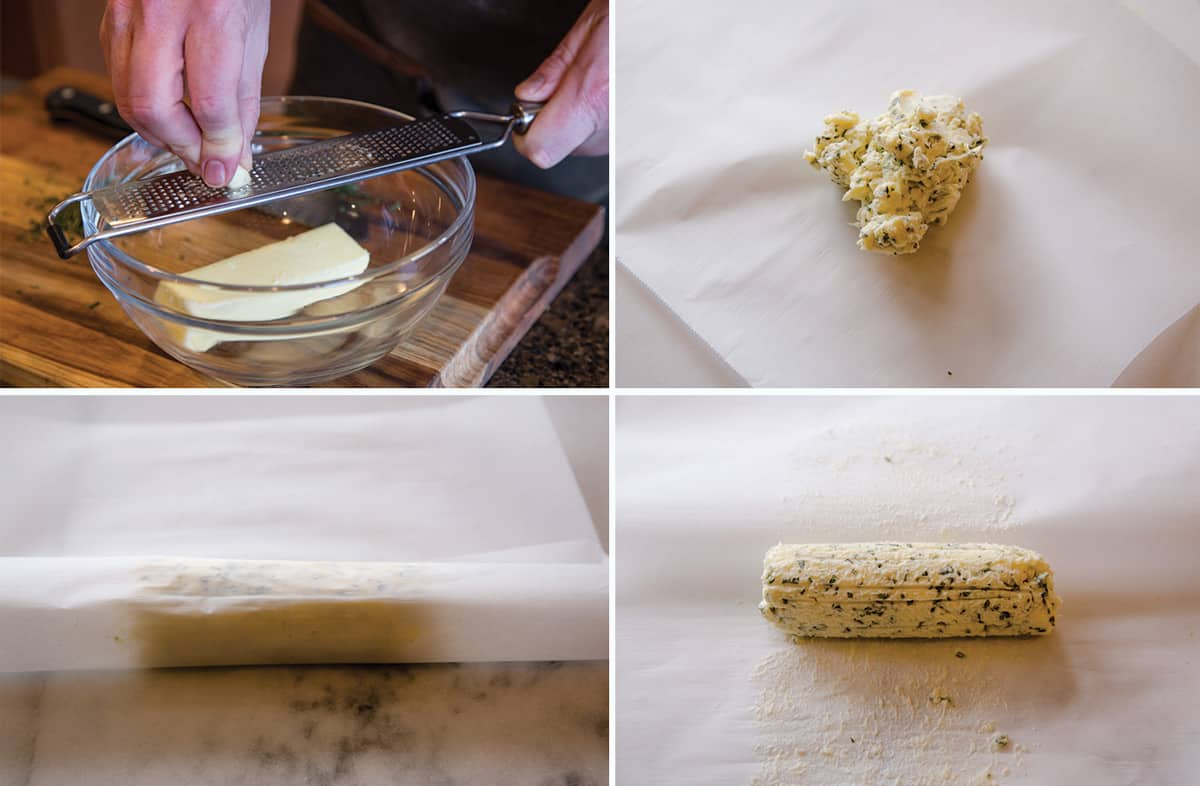 A four photo collage illustrating how to make a compound butter.