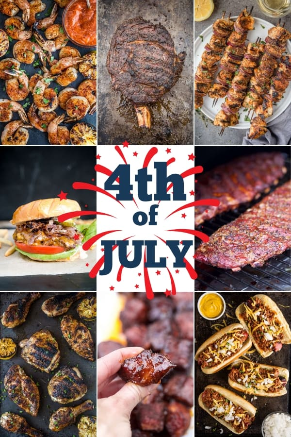 "picture collage of grilled food with ""4th of July"" in the center"