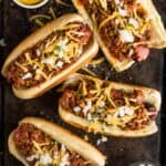 4 Chili Dogs on a sheet pan