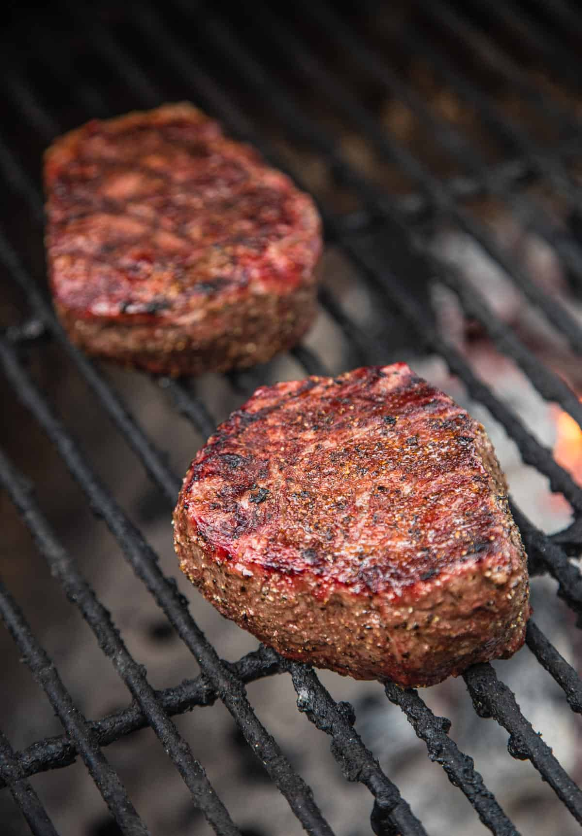 Grilling Filet Mignon on a grill
