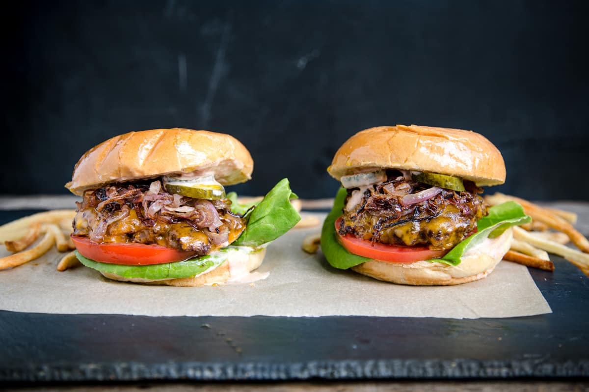 Two Grilled Smashed Burgers