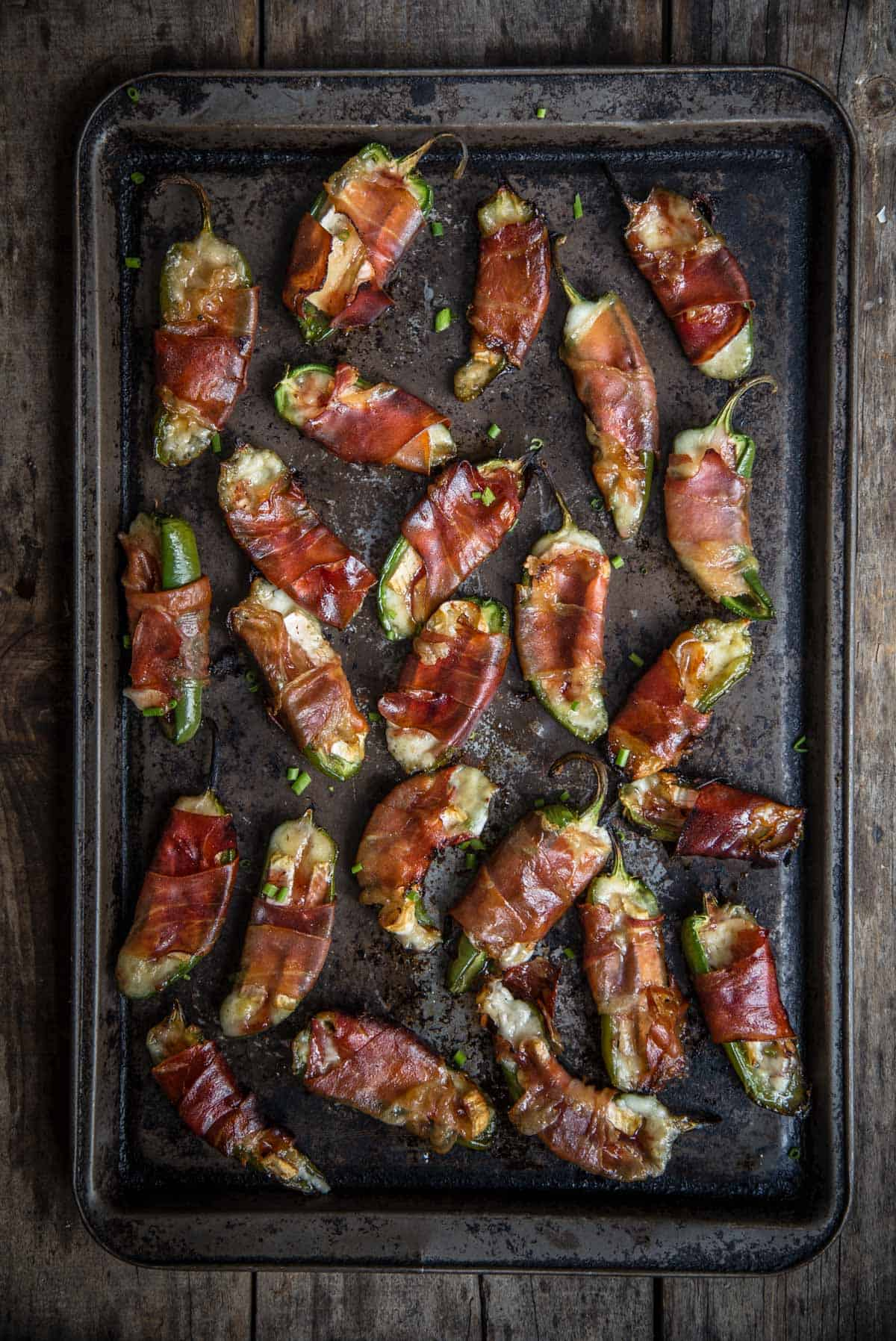Grilled Jalapeno poppers on a sheet pan