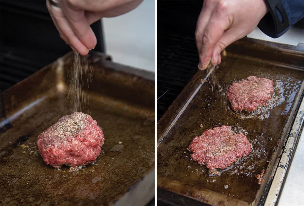 Seasoning burgers on the grill