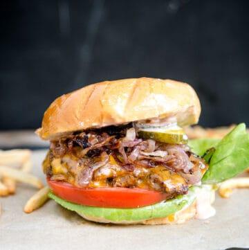 Smash Burger with onions