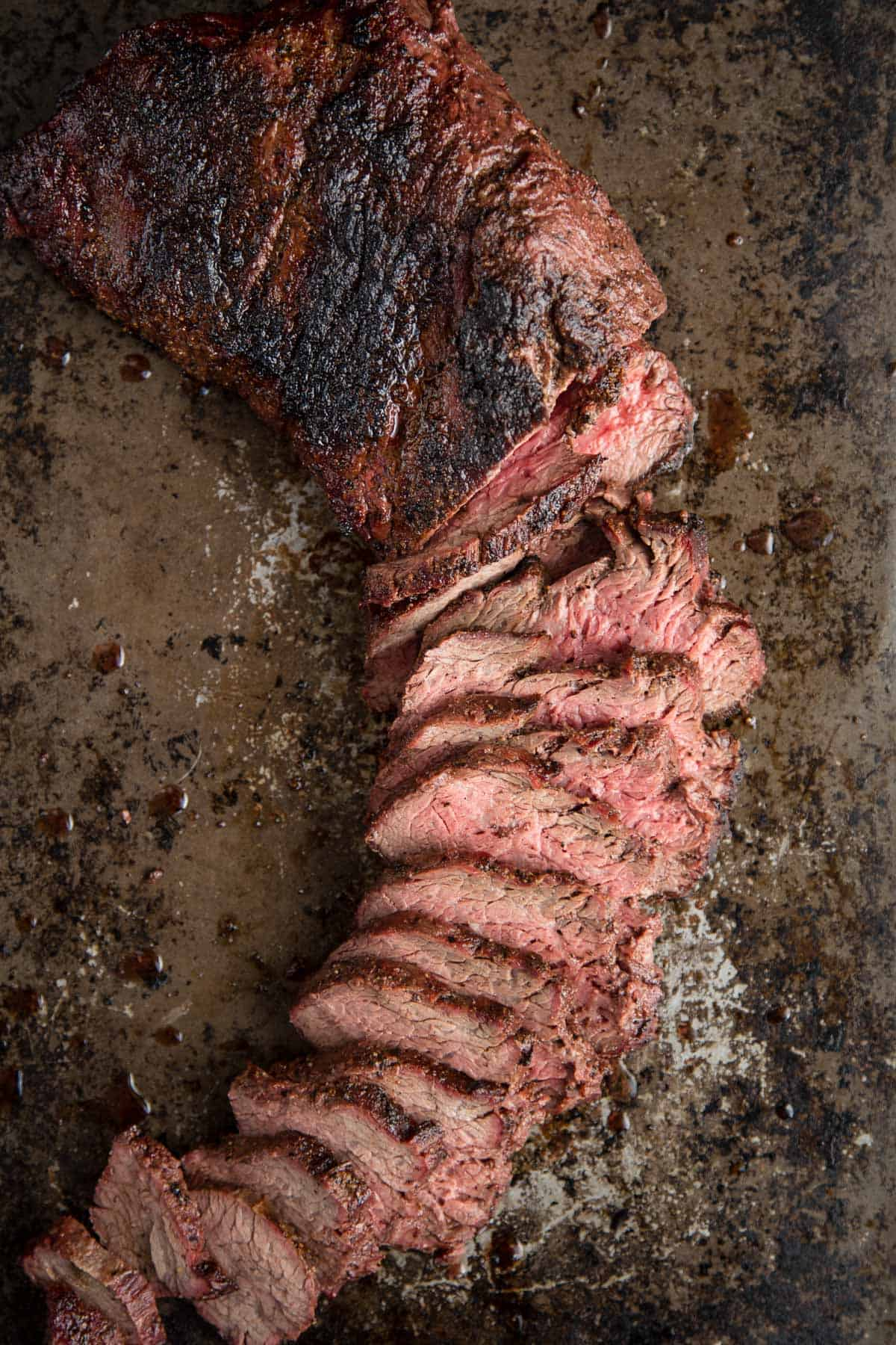 Grilled Tri Tip sliced into thin strips
