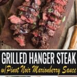 Grilled Hanger Steak images with text for pinterest