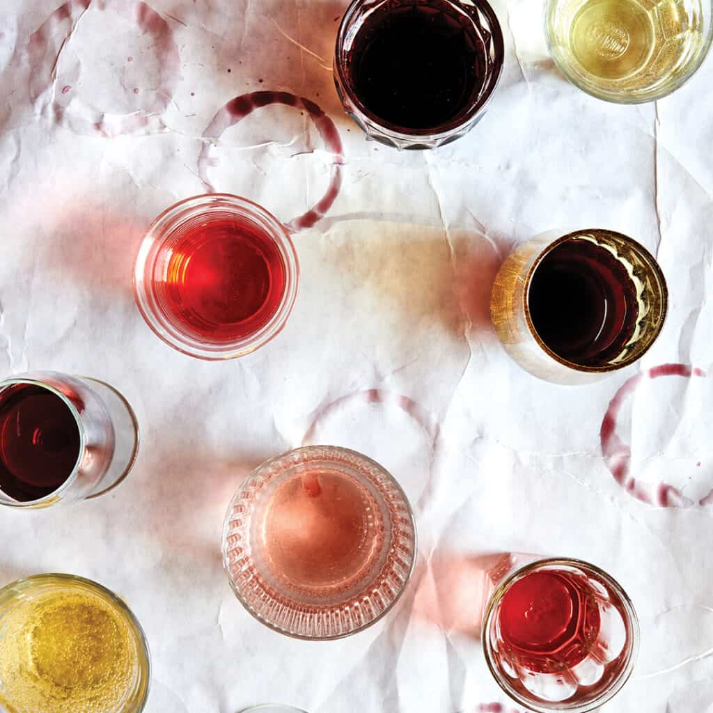 Variations of wine from rose to red.