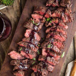Grilled Hanger Steak on a platter