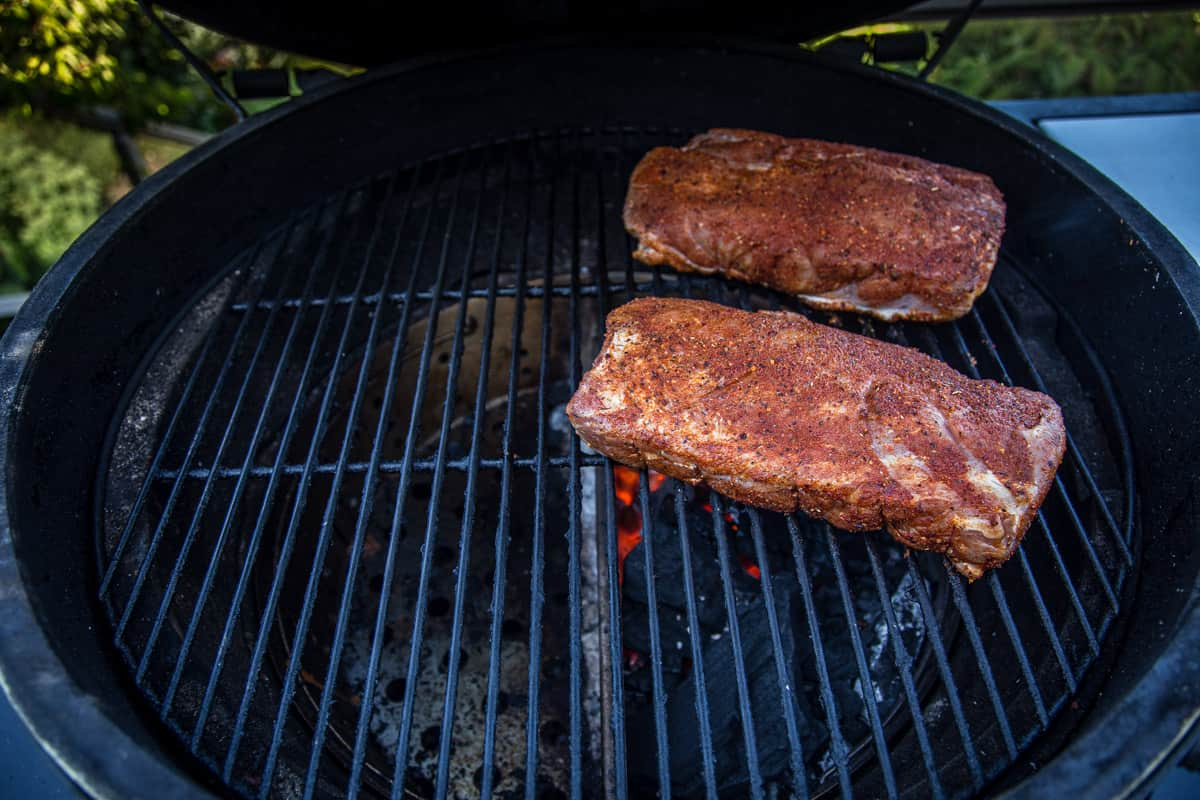 Pork loin grilling over direct heat