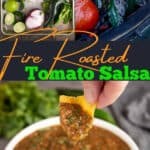 Fire Roasted Salsa Pin image with text