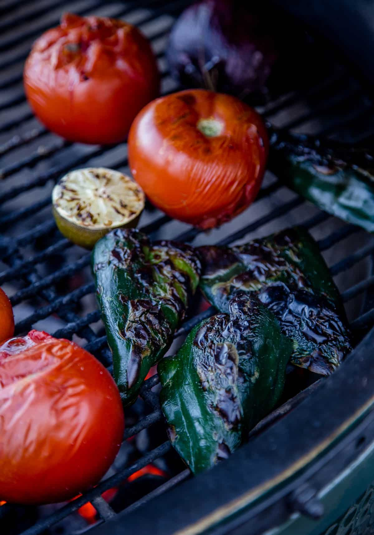 Roasting vegetables on a grill