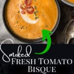 Smoked Tomato Bisque pin image with text