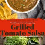 Grilled Tomato Salsa pin image with text