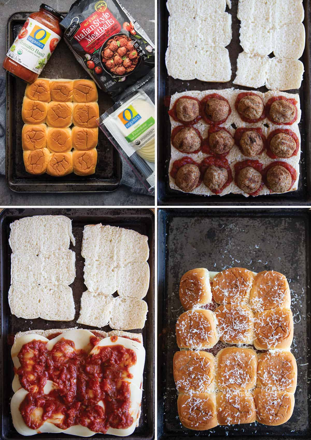 A step by step photo collage showing how to prepare meatball sliders