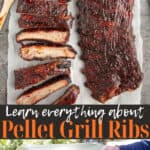 Ribs on a grill with text overlay for pinterest