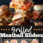 Grilled Meatball Slider Recipe pin image with text