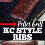 Ribs on a pellet grill with text for pinterest
