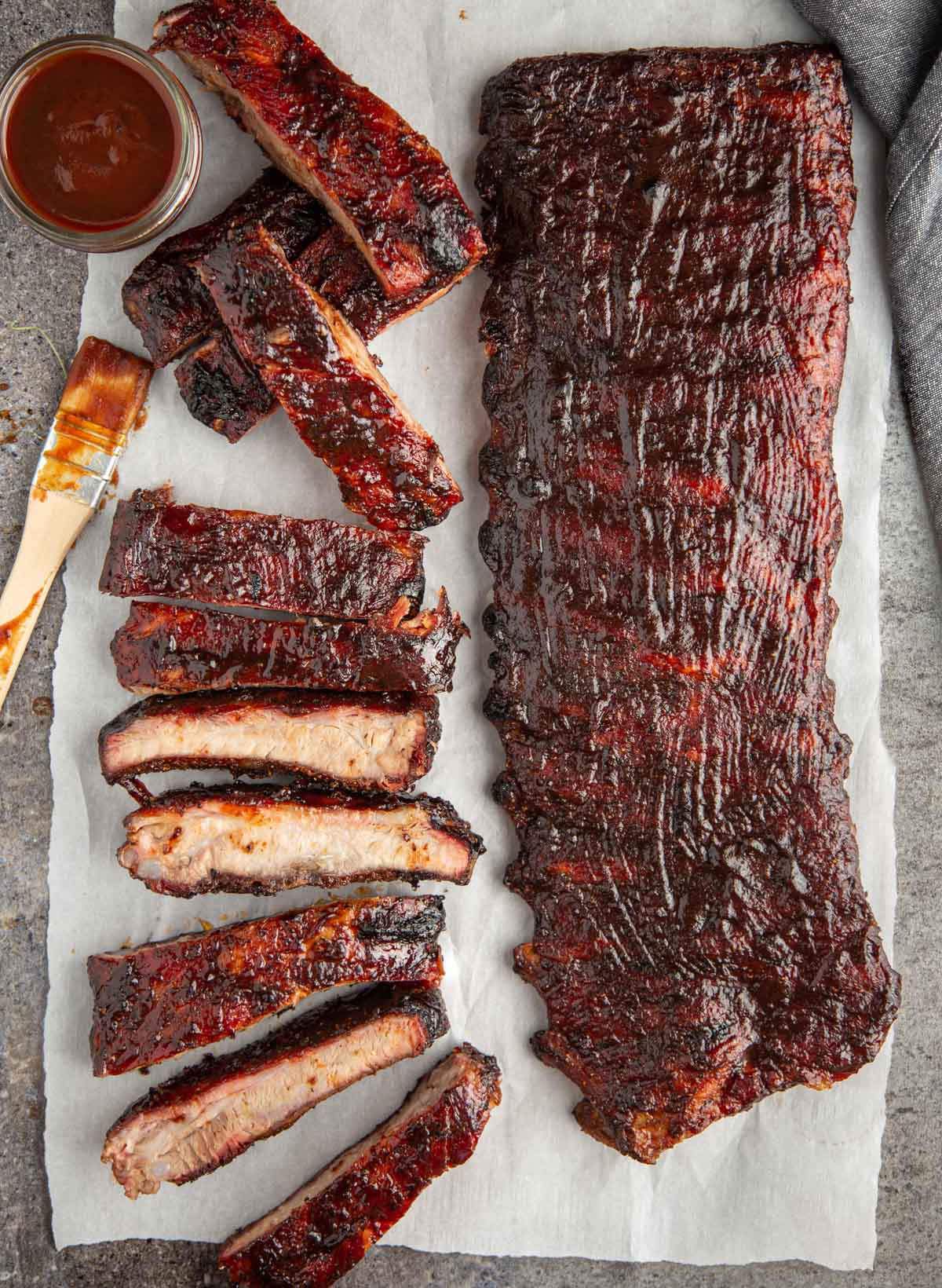 2 Racks of Pellet Grill Ribs with a Kansas City Style BBQ Sauce