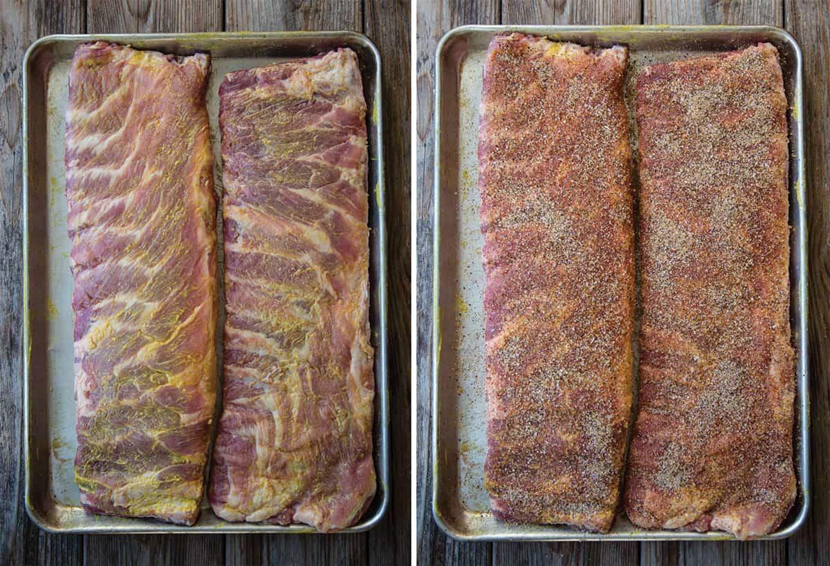 Seasoning 2 Racks of Ribs with Mustard and Dry Rub