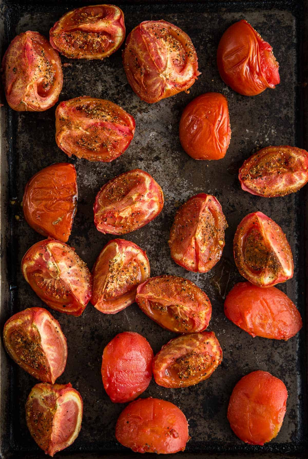 A pan full of smoked tomatoes