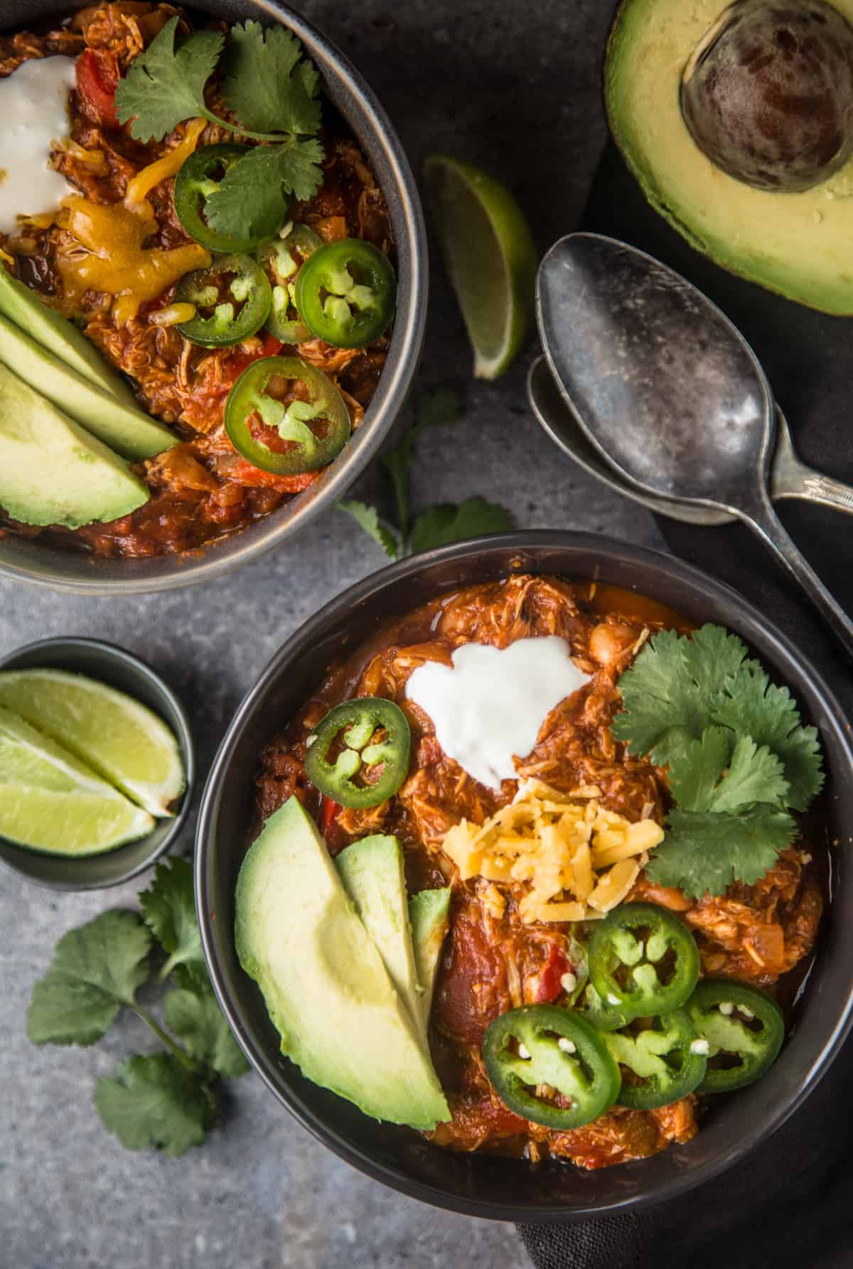 Two bowls of smoked chicken chili