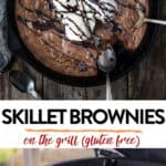 Skillet Brownie pin image for Pinterest