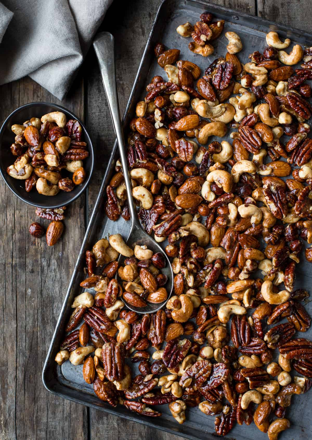 A sheet tray full of smoked candied nuts