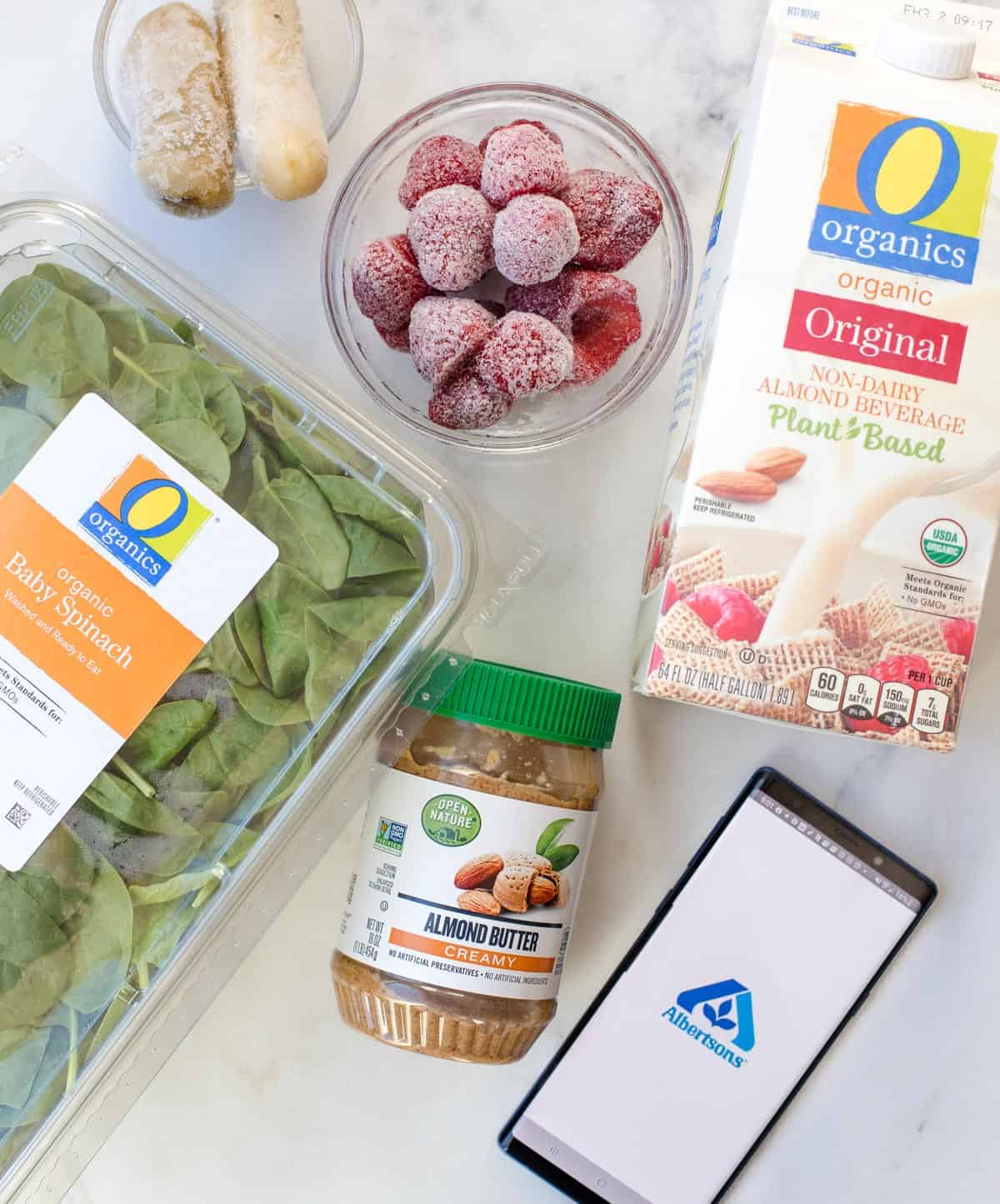O Organics products used to make a smoothie, on a white platter