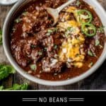 Texas Chili Recipe Pinterest Pin text on dark background