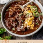 Texas Chili Recipe Pinterest Pin text on light background