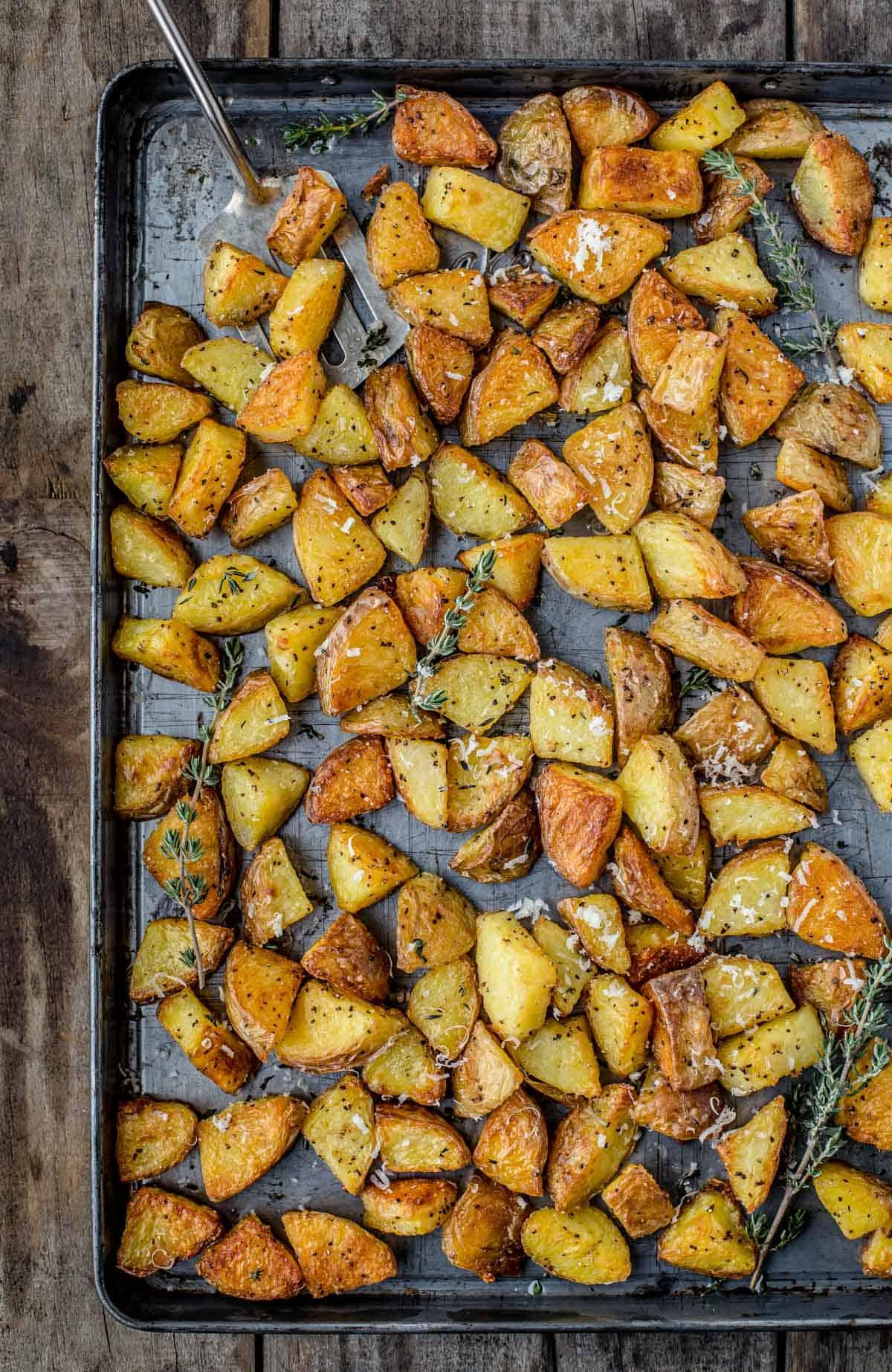 Roasted Duck Fat Potatoes on a sheet pan