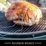 Borbon Brined Smoked Turkey Pinterest Pin with Text on dark background