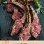 Smoked Lamb Chops pinterest text on light background