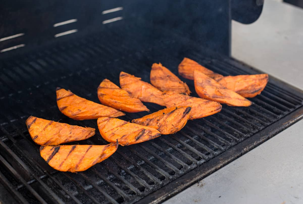 Sweet potatoes on the grill
