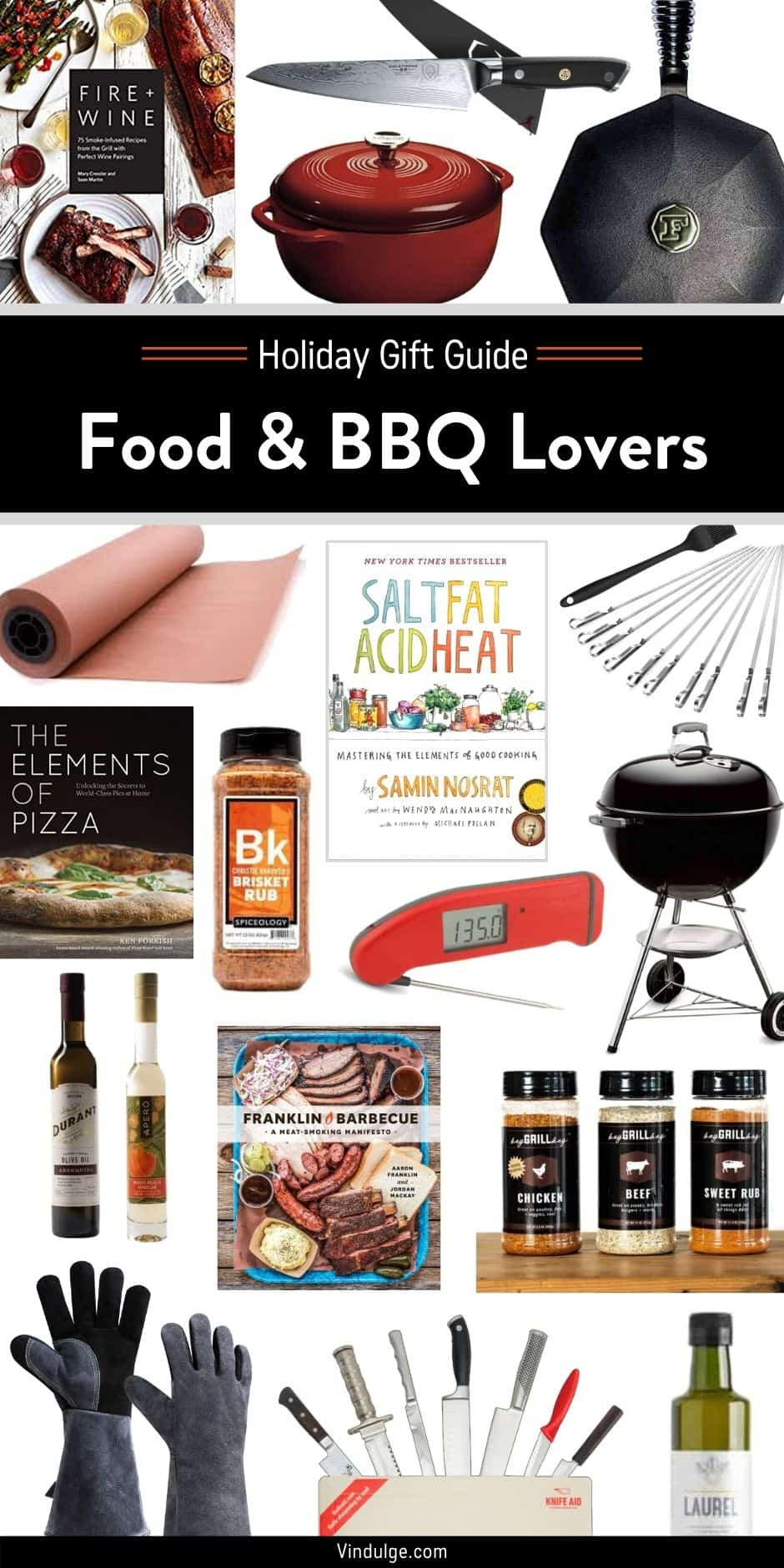 A collage image with different holiday gift ideas for bbq and grilled food lovers