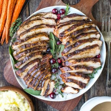 Sliced and grilled Cajun turkey breast.