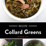 Collard Greens Pinterest Pin with text on dark background