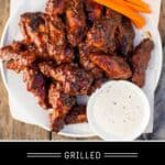 Grilled Chicken Wings Pinterest Pin with text on Dark background